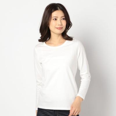 レディース 【在庫限り】婦人オーガニック無地クルーネック長袖Tシャツ ホワイト L