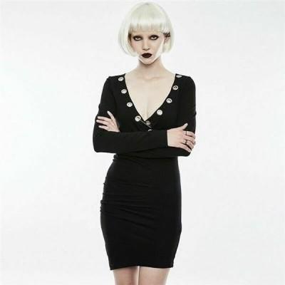 ドレス ゴシック パンク セクシー  Punk rave Fashion Gothic Black Streampunk Visual Sexy Tight Short Cotton Dress