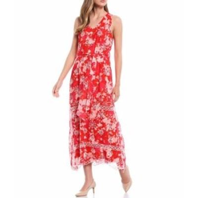 カルバンクライン レディース ワンピース トップス Embroidered V-Neck Sleeveless Chiffon Belted Maxi Dress Ember Multi