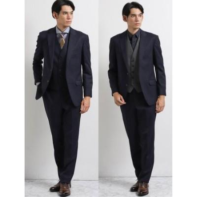 ストレッチウォッシャブル ウール混チェック柄リラックスフィット3ピーススーツ 紺