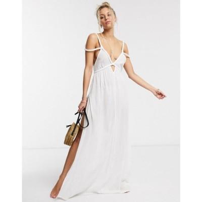 エイソス ASOS DESIGN レディース ビーチウェア ワンピース・ドレス 水着・ビーチウェア Plait Maxi Beach Dress In Textured White ホワイト