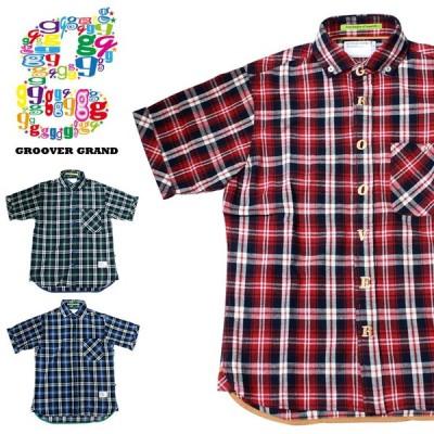 セール シャツ メンズ 半袖 チェック柄 おしゃれ ロゴ ブランド ストリート系 ファッション ダンス 衣装 B系 XL