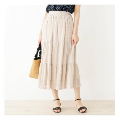 【グローブ/grove】 変わり織りティアードスカート