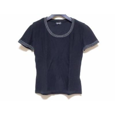 ソニアリキエル SONIARYKIEL 半袖セーター サイズ38 M レディース - 黒×白【中古】20200506