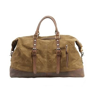 Canvas Duffle Bag, P.KU.VDSL Mens Overnight Bag Leather Weekend Bag Waterproof Luggage Tote Bag Holdall for TravelLargeB - Khaki - Waterproo