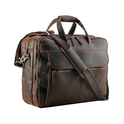 "Polare Men's Thick Full Grain Leather 17.3"" Laptop Business Briefcase 並行輸入品"