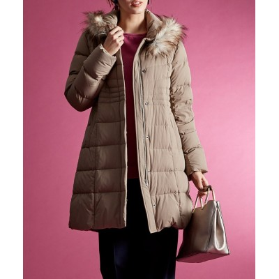【大きいサイズ】 エコファー付ストレッチダウンコート(フランス産ダウン使用) コート, plus size coat