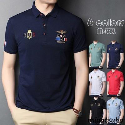 ポロシャツ メンズ 刺繍 トップス 大きいサイズ 半袖 ファッション トレンド ゴルフウェア おしゃれ スポーツ 夏 ゴルフ シャツ