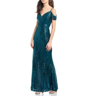 モルガン レディース ワンピース トップス Spaghetti Strap Cold-Shoulder Sequin Pattern Long Dress