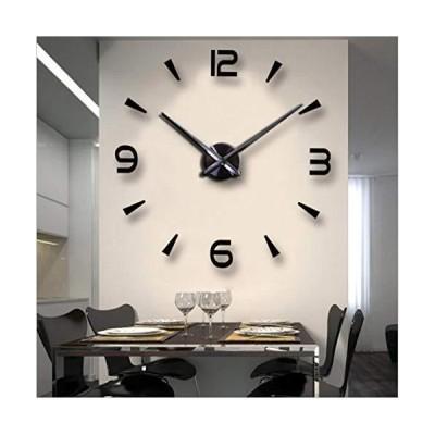 FASHION in THE CITY 3D DIY Wall Clock Creative Design Mirror Surface Wall Decorative Sticker Watches (Black)【並行輸入品】