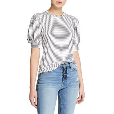 フレーム レディース Tシャツ トップス Balloon-Sleeve Striped Tee