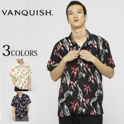 VANQUISH ヴァンキッシュ レーヨンリーフオープンカラーシャツ アロハシャツ 半袖 サマー 夏