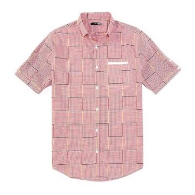 ムラノ メンズ シャツ トップス Slim-Fit Windowpane Check Short-Sleeve Woven Shirt