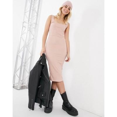 トップショップ Topshop レディース ボディコンドレス タイト ミドル丈 ワンピース・ドレス seam detail bodycon midi dress in pink ピンク