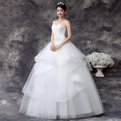 ウェディングドレス パーティードレス 袖なし ロングドレス wedding dress 花嫁 結婚式 安い 大きいサイズ 柔らかレース ホワイト 白