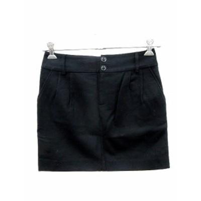 【中古】アーバンリサーチ URBAN RESEARCH スカート 台形 ミニ ウール 38 黒 ブラック /AU レディース