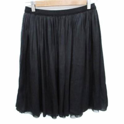 【中古】シップス SHIPS スカート フレア ギャザー ミモレ丈 F 黒 ブラック /FF15 レディース
