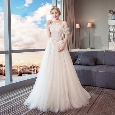 ウエディングドレス 結婚式 安い 白 レース ウエディングドレス ロングドレス 花嫁 ブライダル aライン 二次会 パーティードレス 演奏会 フォーマルドレス