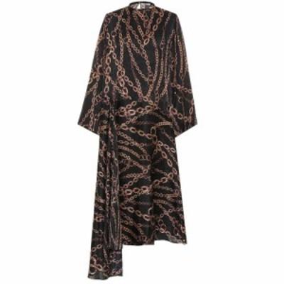 バレンシアガ Balenciaga レディース ワンピース ワンピース・ドレス Printed silk dress Black