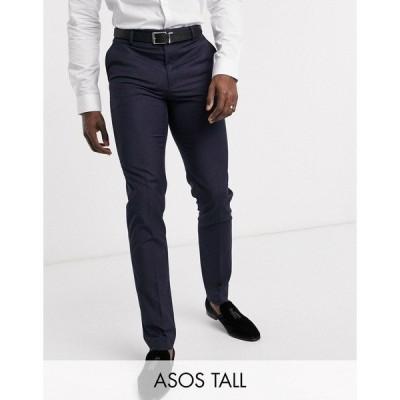 エイソス メンズ カジュアル ボトムス ASOS DESIGN Tall slim suit pants in navy Navy