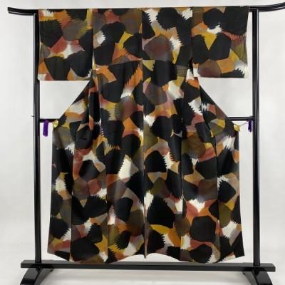 小紋 秀品 幾何学 黒 袷 身丈152cm 裄丈62.5cm S 正絹 中古