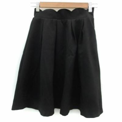 【中古】マジェスティックレゴン MAJESTIC LEGON スカート フレア ひざ丈 M ブラック 黒 /YM6 レディース