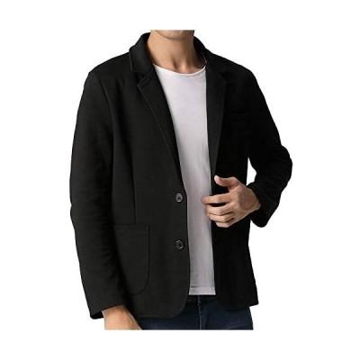TOPSKY テーラード ジャケット メンズ カジュアル ジャケット スウェット 細身 ストレッチ ブレザージャケット (ブラック L)