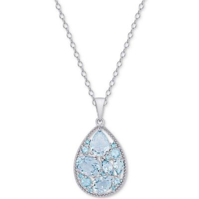 メイシーズ Macy's メンズ ネックレス ジュエリー・アクセサリー Cluster Teardrop Pendant Necklace (3-3/8 ct. t.w.) in Sterling Silver Blue