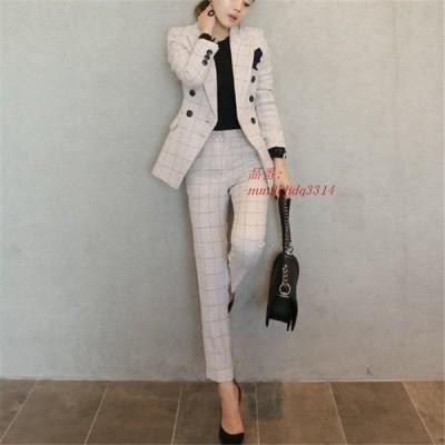 CBAFU オフィスレディ仕事ビジネスパンツスーツチェック柄ブレザージャケットスーツ 上着 オールパンツ 2 点セット女性スーツ女性セット D603 グループ上 レ
