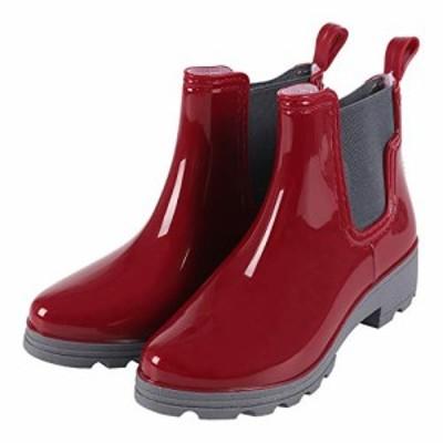 【新品・送料無料】[CAWKAY] レインブーツ サイドゴア レインシューズ レディース ショート ブーツ 光沢 長靴 雨靴 ブーツ シンプル デザ