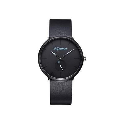 ミニマリストメンズウォッチ アナログクォーツ 製ムーブメント ファッション カジュアル腕時計 メンズ ビジネス レトロ 本革バンド メンズ ブラック[