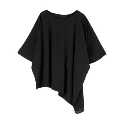 【ミエット】 異素材MIXアシメドレープTシャツ レディース ブラック F miette