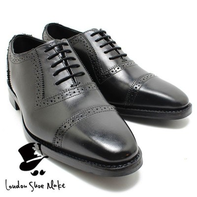 Oxford & Derby 8024 グッドイヤーチゼルトゥクォータブローグ ブラック 本革ビジネスシューズ ビジネス ドレス 紐靴 革靴 仕事用 メンズ