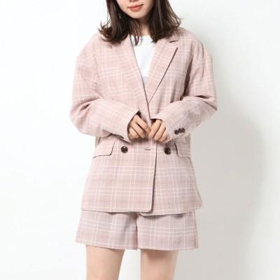 セシルマクビー CECIL McBEE チェック柄テーラードジャケット (ピンク)