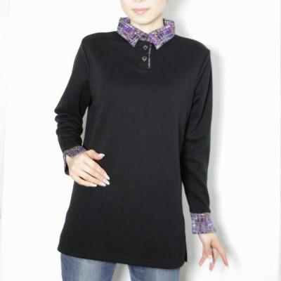 レディース かすりジャガード使い衿プルオーバー 日本製(358421) (トップス 長袖 アクリルウール かすりジャガード)