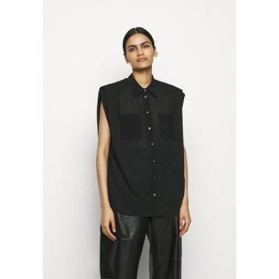 スリーワンフィリップリム カットソー レディース トップス CAP SLEEVE BLOUSE - Button-down blouse - black