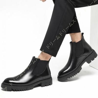 ブーツ ビジネスシューズ チェルシーブーツ メンズ ビジネスブーツ シューズ 革靴 ヒールブーツ 防水 防滑 ブーツ ビジネスシューズ チェルシーブーツ