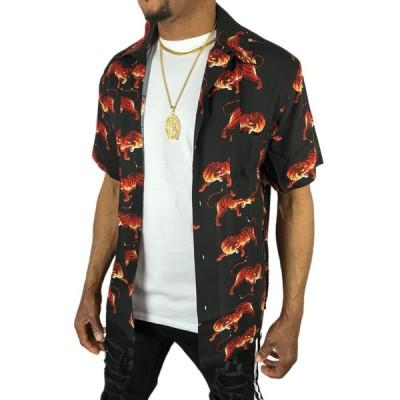 アロハシャツ ボタンシャツ 半袖 大きい メンズ レディース 春夏 カジュアル プリント 虎 トラ とら タイガー 黒色 ブラック●sb73