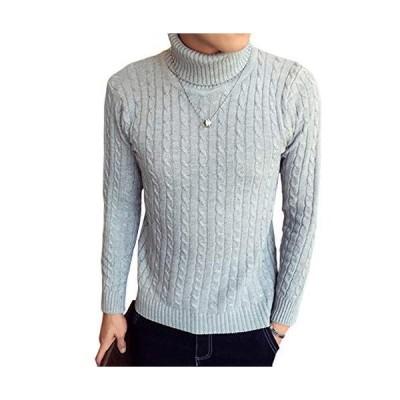 [スカイシイ] タートルネックニット ケーブル編み 暖かい シンプル かっこいい 無地 ニット タートルネック 編み あたたかい 冬 ふゆ トップス