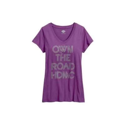 トップス ハーレーダビッドソン Harley-Davidson Women's Own The Road V-Neck Tee Shirt, Purple 96179-17VW