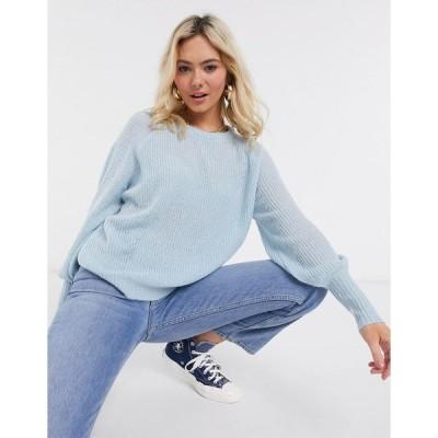 ブレーブソウル レディース ニット&セーター アウター Brave Soul harrita baloon sleeve sweater Ice blue