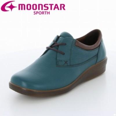 送料無料 ムーンスター スポルス レディース カジュアルコンフォートシューズ 靴 SP5610 ターコイズC ソフトクッション 国産 本革 幅広