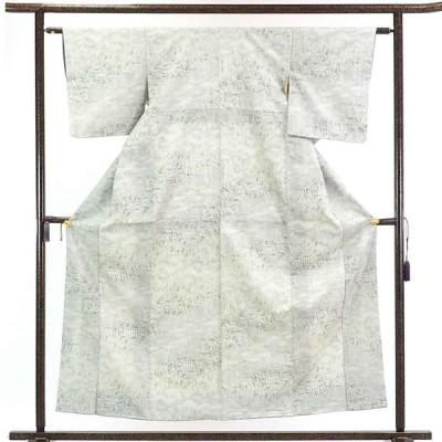 リサイクル着物 紬 正絹白地黒絣袷紬着物