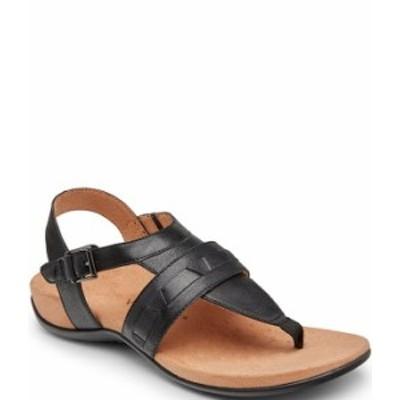 バイオニック レディース サンダル シューズ Lupe Woven Leather Thong Sandals Black