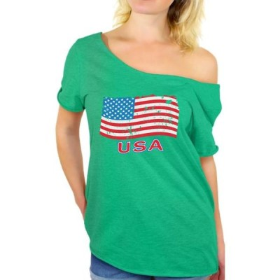 レディース 衣類 トップス Women's Distressed USA Flag Graphic Off Shoulder Tops T-shirt USA Independence Day 4th Of July Tシャツ