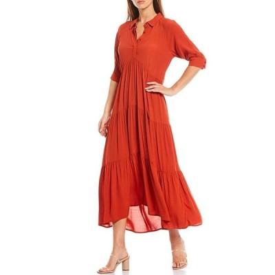 エーラブズエー レディース ワンピース トップス Loose Fit Elbow Sleeve Tiered Maxi Dress