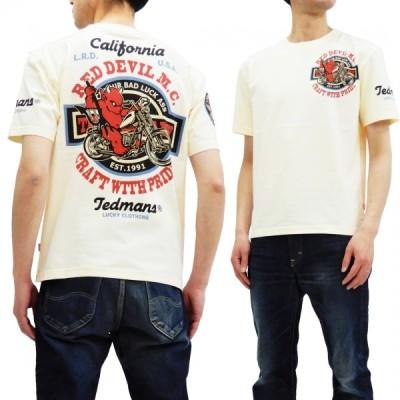 テッドマン 半袖Tシャツ TEDMAN Tシャツ RED DEVIL M.C. バイクデザイン エフ商会 TDSS-492 オフ白 新品