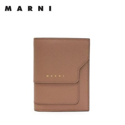 マルニ MARNI  型押しレザー 二つ折り財布【ベージュ】 PFMOQ14U07 LV520 Z470N/【2021-22AW】l-wallet