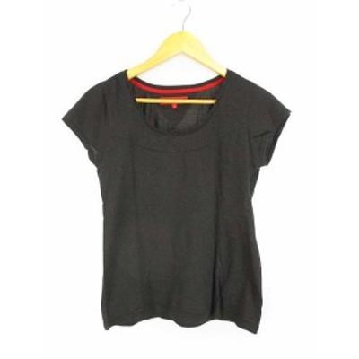 【中古】トミーガール tommy girl ラメ混 Tシャツ カットソー ラウンドネック 半袖 フレンチスリーブ ブラック 黒 S