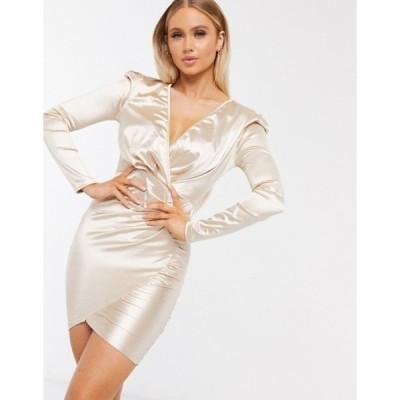 アックスパリ レディース ワンピース トップス AX Paris long sleeve wrap satin mini dress in beige
